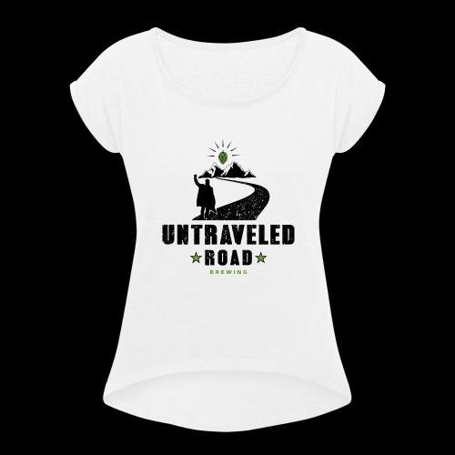 Untraveled Road Logo - schwarz/grün - Frauen T-Shirt mit gerollten Ärmeln