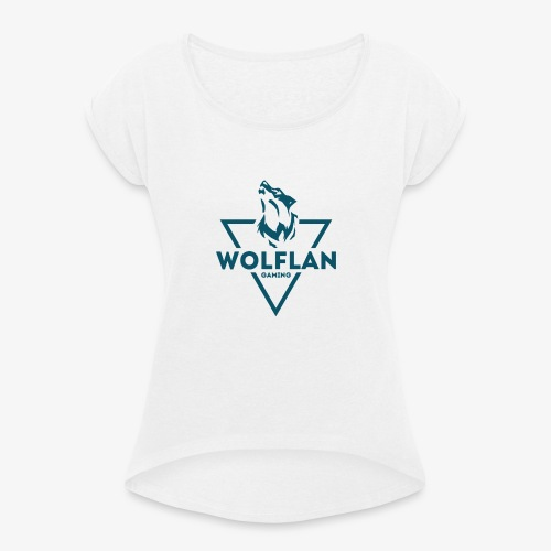 WolfLAN Logo Gray/Blue - Women's T-Shirt with rolled up sleeves
