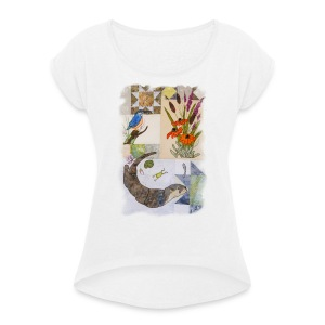 Otter and King Fisher in Grey Design - Women's T-shirt with rolled up sleeves