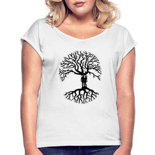 couple arbre de vie zen amour Tree of life noir - T-shirt à manches retroussées Femme