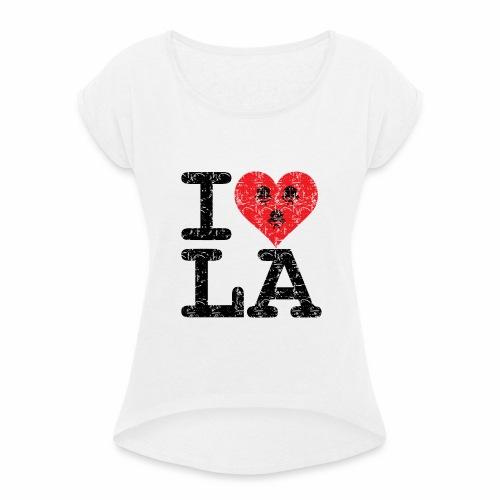 I love LA! schwarz scratchy - Frauen T-Shirt mit gerollten Ärmeln