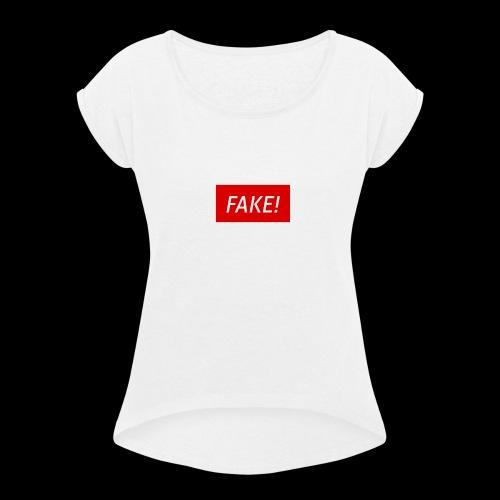 FAKE-Collection by ØNIC™ - Frauen T-Shirt mit gerollten Ärmeln
