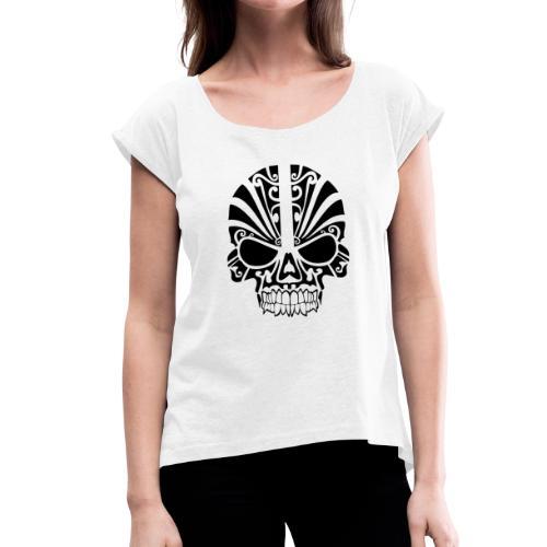 tribal skull - Frauen T-Shirt mit gerollten Ärmeln