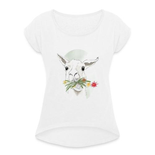 Lola Llama - Frauen T-Shirt mit gerollten Ärmeln