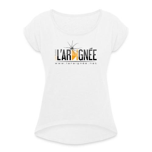 L'ARAIGNÉE, logo noir - T-shirt à manches retroussées Femme