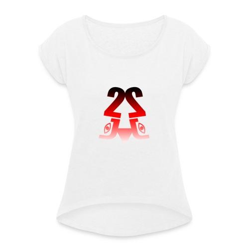 2J Logo fade - Dame T-shirt med rulleærmer