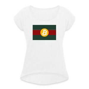 Bitcoin Logo Greed Red Flag - Frauen T-Shirt mit gerollten Ärmeln