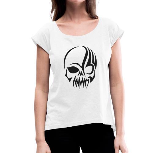 tribals skull - Frauen T-Shirt mit gerollten Ärmeln