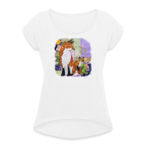 Fox and Cub Design - Women's T-shirt with rolled up sleeves