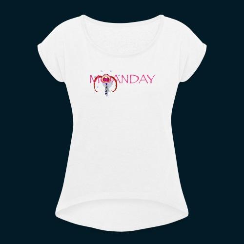 MOANDAY Girl blues - Vrouwen T-shirt met opgerolde mouwen
