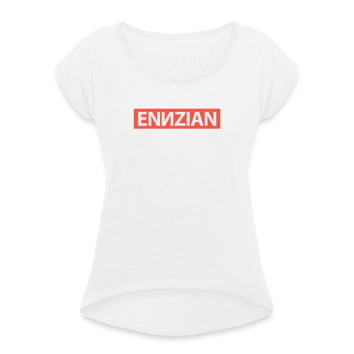 Schriftzug - Frauen T-Shirt mit gerollten Ärmeln