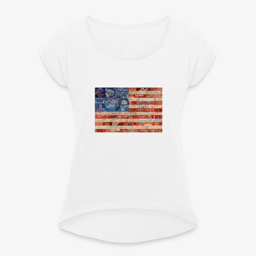 America flag - Women's T-Shirt with rolled up sleeves