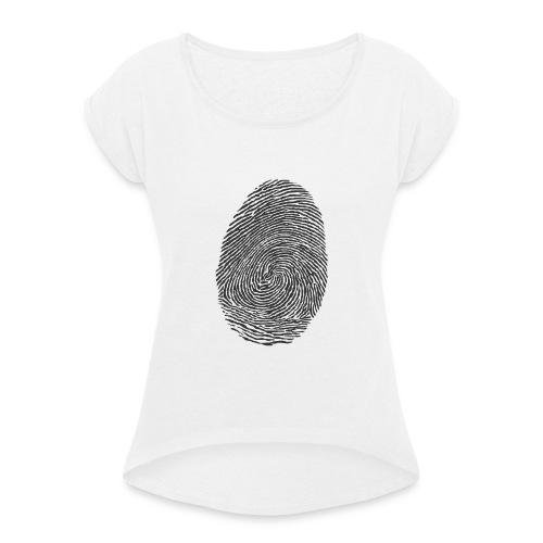 fingeravtryckpng-png - T-shirt med upprullade ärmar dam