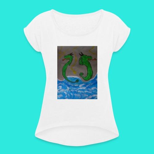 Waterdragons_in_the_thunder- - Vrouwen T-shirt met opgerolde mouwen