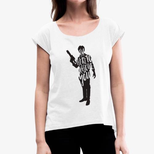 logo man - Naisten T-paita, jossa rullatut hihat