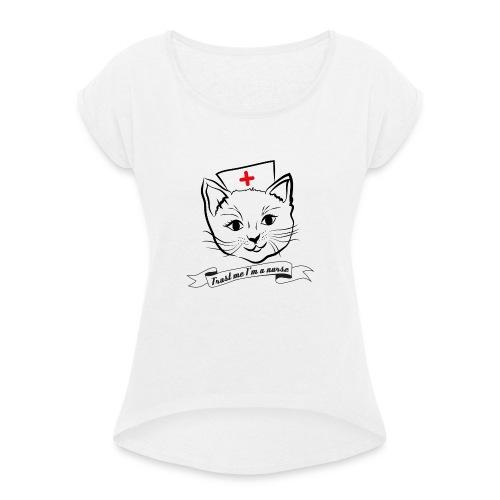 KrankenSisters Katze - Trust Me - Hoodie - Frauen T-Shirt mit gerollten Ärmeln
