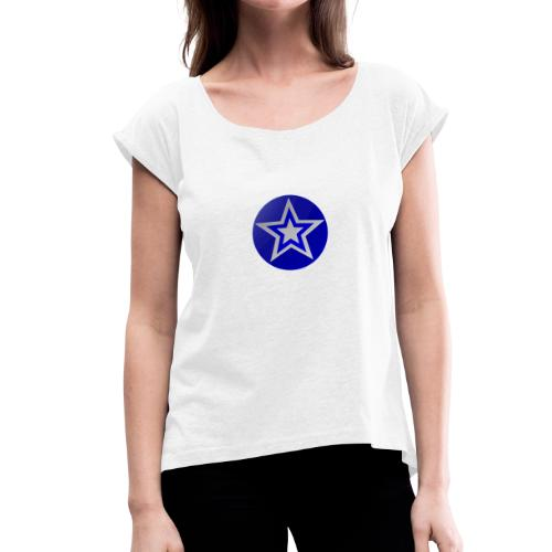 Blue star - Women's T-shirt with rolled up sleeves