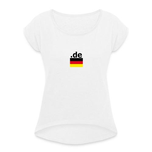 .de Deutschland Fußball T-shirt - Frauen T-Shirt mit gerollten Ärmeln