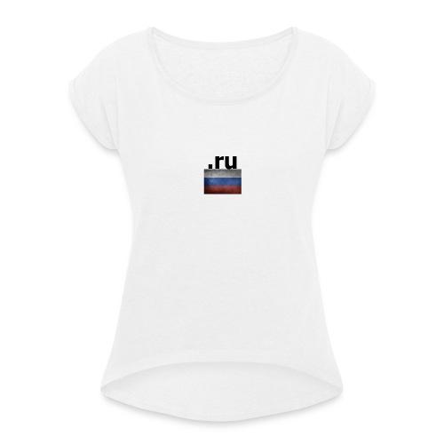 .ru Russland-Fahnen Trikot - Frauen T-Shirt mit gerollten Ärmeln