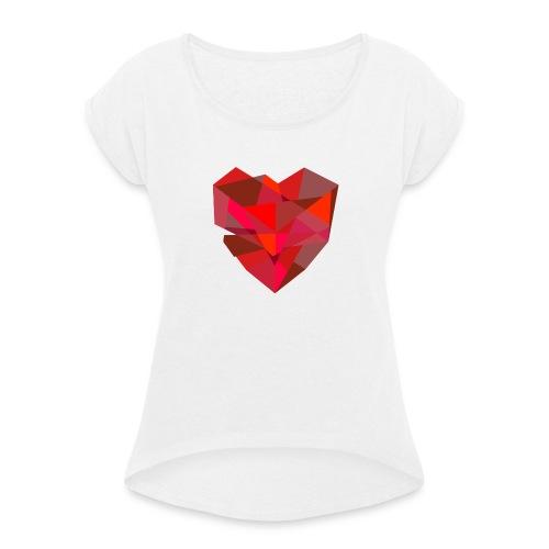 Poly-Heart - Camiseta con manga enrollada mujer