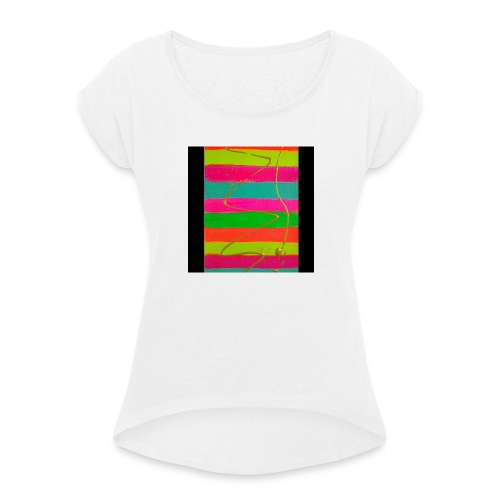 LINEAS FLUORESCENTES - Camiseta con manga enrollada mujer