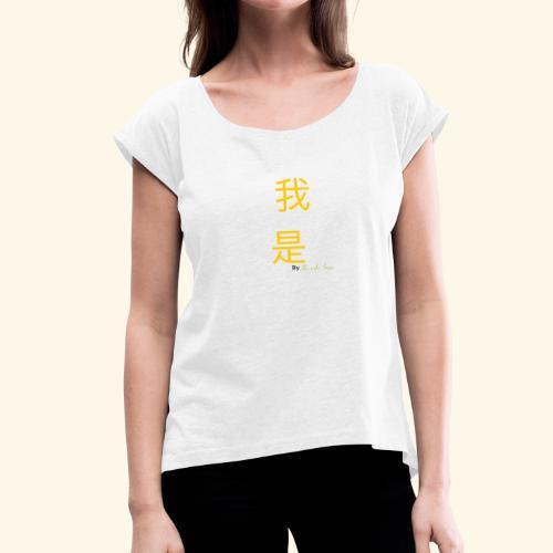 Yo Soy mandarin amarillo - Camiseta con manga enrollada mujer
