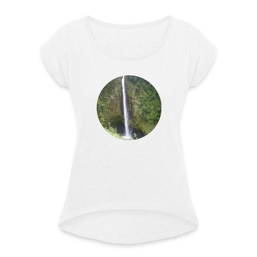 Hawaii Big Island Wasserfall - Frauen T-Shirt mit gerollten Ärmeln