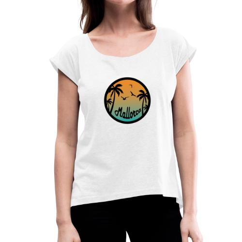 Mallorca sunset sky - Vrouwen T-shirt met opgerolde mouwen