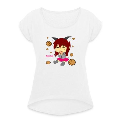 Sherry Blights Cookie Pause - Frauen T-Shirt mit gerollten Ärmeln
