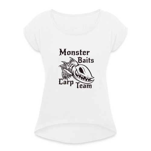 MONSTER_BAITS_WHITE - Koszulka damska z lekko podwiniętymi rękawami