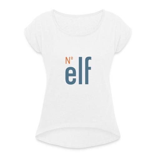 No. elf Logo - Frauen T-Shirt mit gerollten Ärmeln