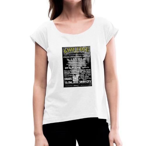 Plakat gold weiss - Frauen T-Shirt mit gerollten Ärmeln