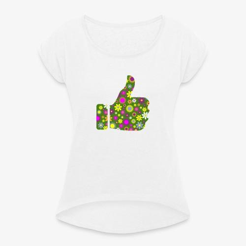 Retro Floral Pouce en l'Air - T-shirt à manches retroussées Femme
