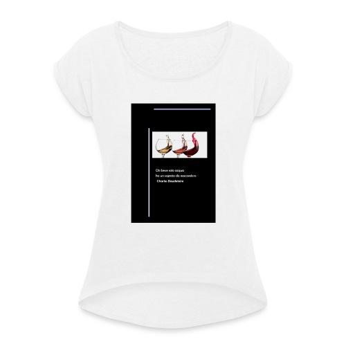 vino1 - Maglietta da donna con risvolti