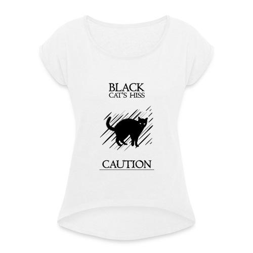 black cat - Camiseta con manga enrollada mujer