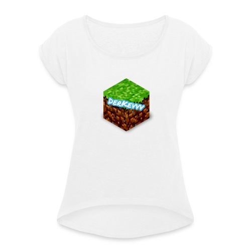 DerKevvv (Gras Block) - Frauen T-Shirt mit gerollten Ärmeln