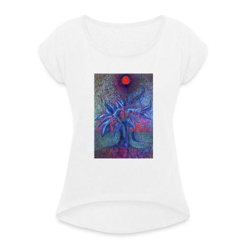 DrzewoKwiat - Koszulka damska z lekko podwiniętymi rękawami