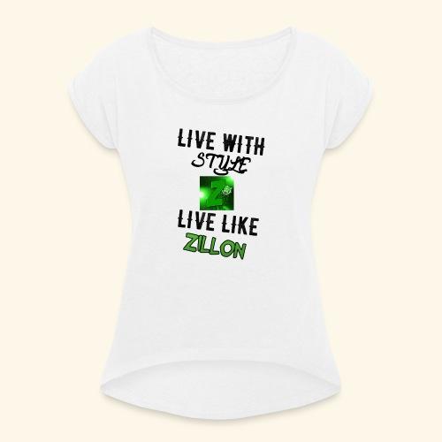 LWS LlZ - Camiseta con manga enrollada mujer