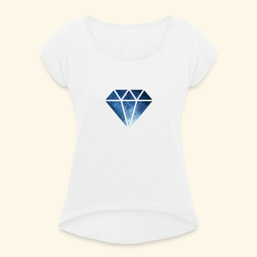 Galaxie Diamant - Frauen T-Shirt mit gerollten Ärmeln