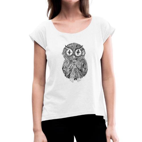 Eule - Frauen T-Shirt mit gerollten Ärmeln