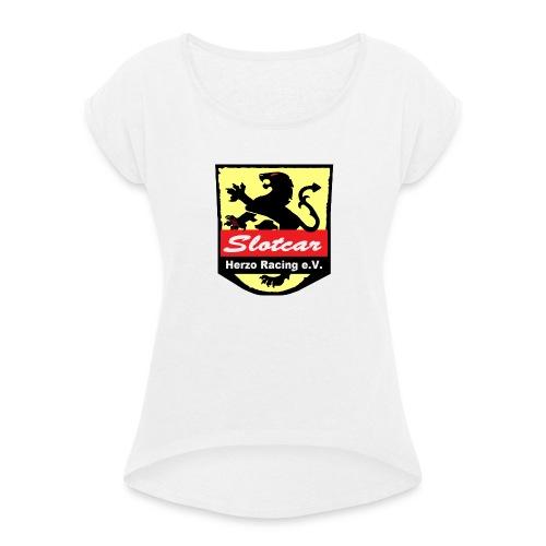 HR Logo Schwarz (für alle Hintergründe) - Frauen T-Shirt mit gerollten Ärmeln
