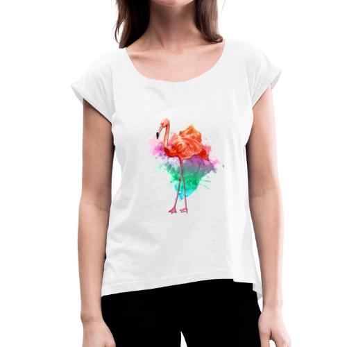 Colorful Flamingo - Frauen T-Shirt mit gerollten Ärmeln