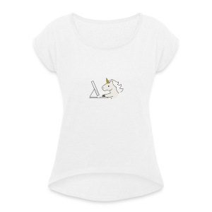 Unicorn Work - Women's T-shirt with rolled up sleeves