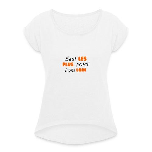 SegnoBoutiqueFr - T-shirt à manches retroussées Femme