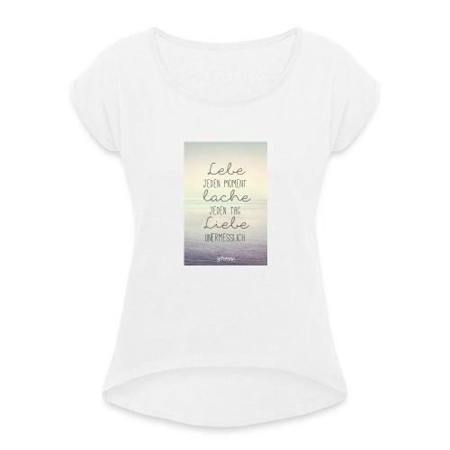 Damen Shirt - Frauen T-Shirt mit gerollten Ärmeln