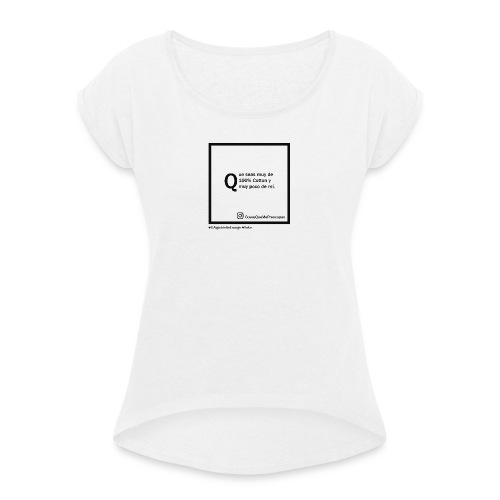 100 cotton - Camiseta con manga enrollada mujer