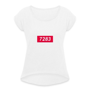 7283-Red - Women's T-shirt with rolled up sleeves