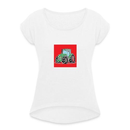 tracteur 1 rouge - T-shirt à manches retroussées Femme