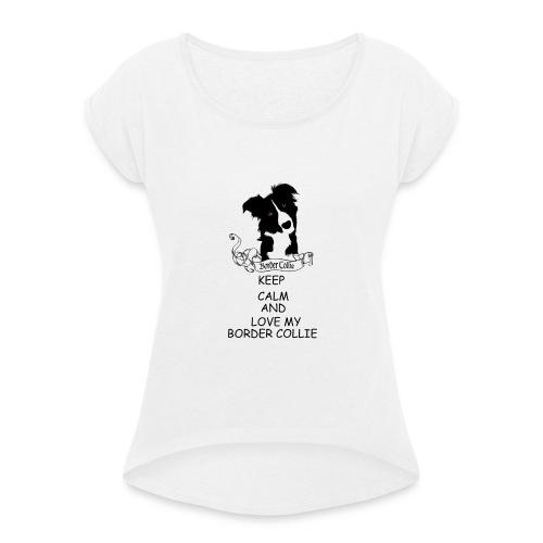 border_collie - T-shirt med upprullade ärmar dam