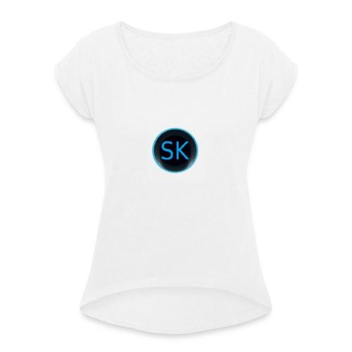 SK White Background - T-shirt à manches retroussées Femme